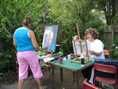 Adrien's students taking advantage of fine Auckland weather at her studio in Albany, Auckland